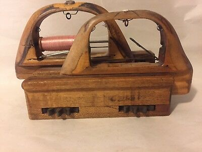 Antique Wooden Weaving Three Piece Loom Shuttle With Bobbin and Thread