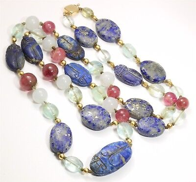 14k Yellow Gold Ancient Egyptian Carved Lapis Scarab Gemstone Bead Necklace 112g