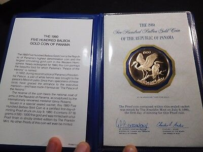 INV #S46 Panama 1980 GOLD 500 Balboa FDC Proof Very RARE Mintage of 612