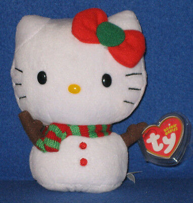 Ty Hello Kitty Snowman Beanie Baby - Mint Tags - New