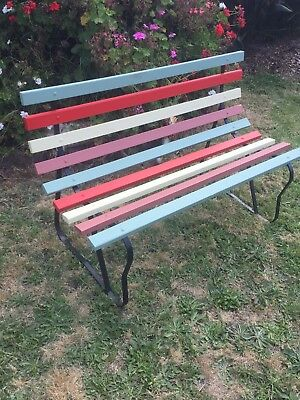 Stunning Fully Restored 50/60's Wrought Iron Park Bench Love Seat Candy Stripe