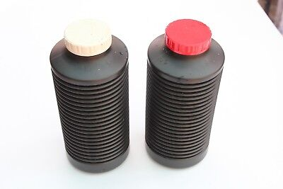 Two Photographic Chemical Squeeze Bottles 1 Litre