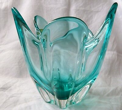 Hineri Japanese Mid Century Aqua Glass Handkerchief Vase - Labelled