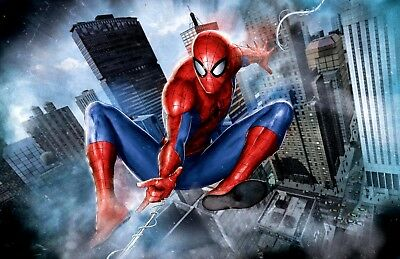 Spider-Man Superhero NYC Skyscapers Fine Art Giclée on Canvas Signed by Stan Lee