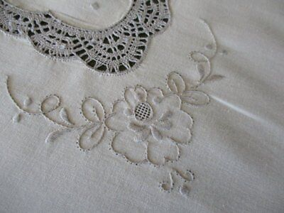 Pretty Tablecloth Hand Embroidery & Bobbin Lace - Unused