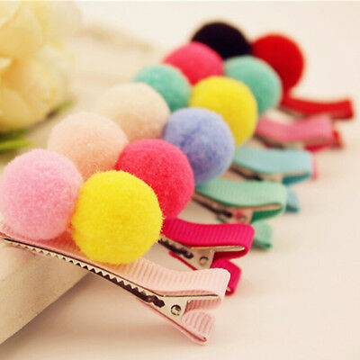 2/5/10 Pcs Cute Balls Hair Clips for Girls Kids Hair Accessories Random Pip