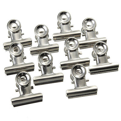 10 Pcs Mini Bulldog Letter Clips Stainless Steel Silver Metal Paper Binder Clip,