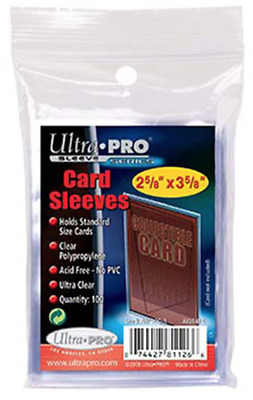"ULTRA PRO - CARD SLEEVE - 2-1/2"" X 3-1/2"" Soft Card Sleeves (PK100)"
