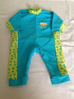 Boys  Age 3-6 Months Swim Sun Suit Blue/yellow Crab Motif Design
