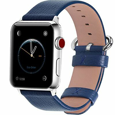 Watch Band For Apple Series 1/2/3 Sport & Edition Leather-42mm Dark Blue/Silver