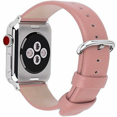 Watch Band For Women Apple Series 1/2/3 Sport & Edition Leather-42mm Pink/Silver