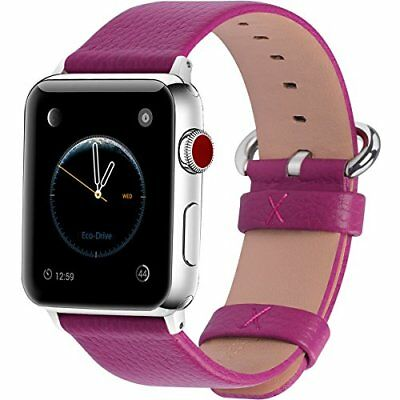 Watch Band For Women Apple Series 1/2/3 Sport & Edition Leather-42mm Rosy/Silver