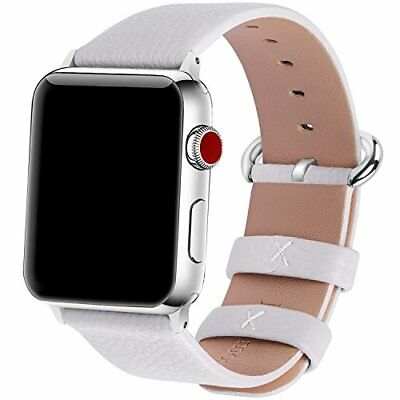 Watch Band For Apple Series 1/2/3 Sport Edition Leather-42mm White/Silver Buckle