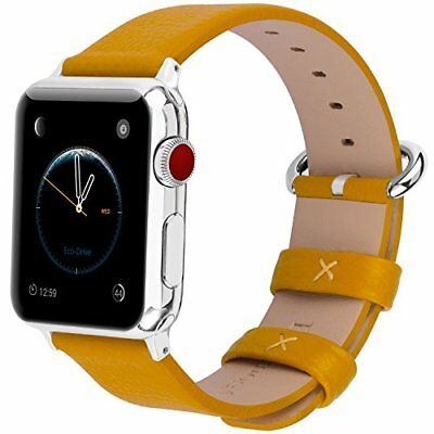 Watch Band For Apple Series 1/2/3 Sport And Edition Genuine Leather-42mm Yellow