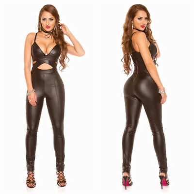 Jumpsuit Tuta Intera Donna In Wetlook Sexy Con Scollatura Tinta Unita