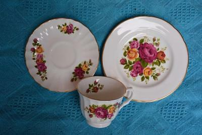 Crown Trent CUP/SAUCER/PLATE Trio BONE CHINA Pink/Gold Roses -England VINTAGE