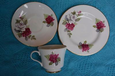 Crown Trent CUP/SAUCER/PLATE Trio BONE CHINA Pink/White Roses -England VINTAGE