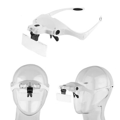 1.0X-3.5X 5Lens Glass Magnifier With LED Light Headband Eyelash Extension Device
