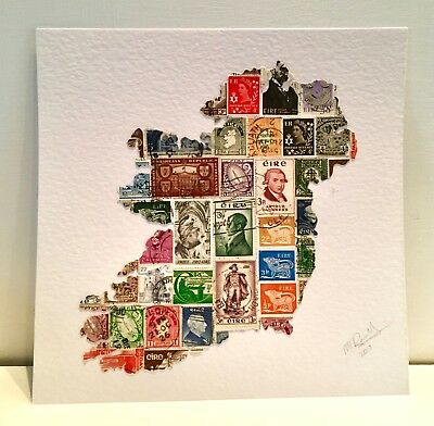 Handmade Map of Ireland, genuine old stamps. Featuring 1959 Arthur Guinness