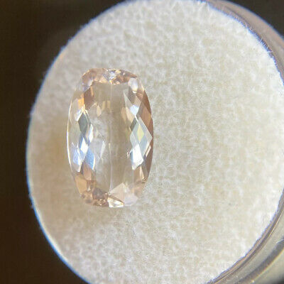 NATURAL Morganite 2.70ct Peach Pink Beryl Antique Cushion Cut Rare Loose Gem