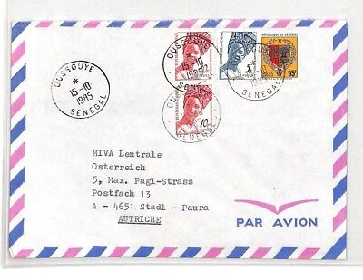 CA334 1985 Senegal *Oussouye* CDS Airmail Cover MISSIONARY VEHICLES PTS