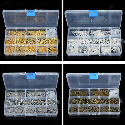 580pcs/Box DIY Jewelry Findings Accessories Jump Ring Lobster Clasp End Caps Pin
