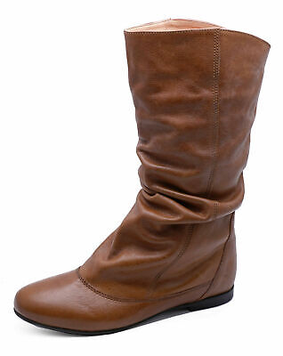 Ladies Real Leather Tan Flat Slouch Comfy Ruched Tall Knee-High Calf Boots 3-8