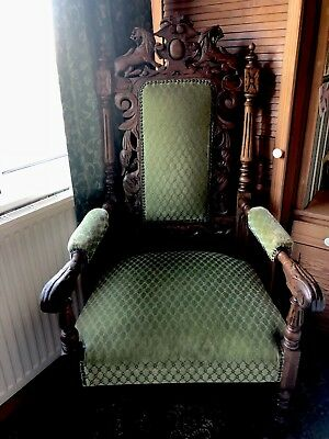 Antique Oak Green Man Style Armchair