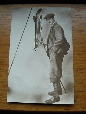 Postcard Man with Golf club and Fishing Rod - Pike or Salmon - Alan Mills Exeter