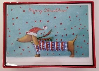 Dachshund Dog Christmas Cards - Box of 15 - Glittered - Blank Inside Card