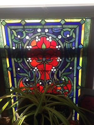 Antique leaded Slag Stained Glass Window mint shape