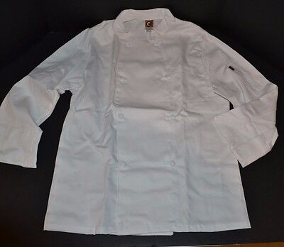 New CHEF DESIGNS Double Breasted Executive Chef Coat WHITE Small RG