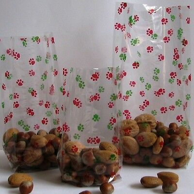 Paw print cello red green cellophane bags 10 20 25 puppy dog christmas treats