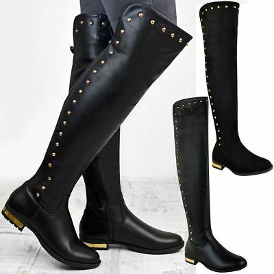 Womens Ladies Stretchy Over The Knee Thigh High Boots Stud Low Heel Riding Size