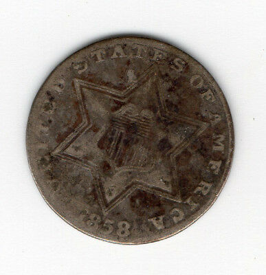 "1858 3 cent silver piece ""trime"" - free shipping - three cent coin"