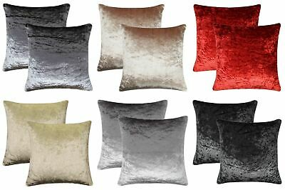 Pair of Crushed Velvet Cushion Covers Luxury Plush Plain 2 Pack Cover Set