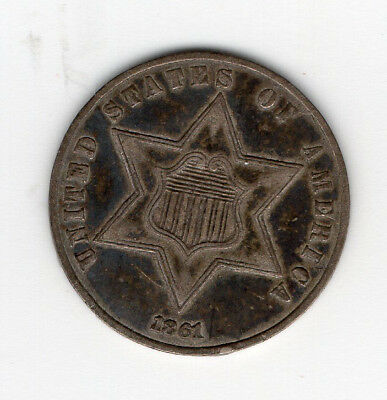 "1861 3 cent silver piece ""trime"" - free shipping - three cent coin"