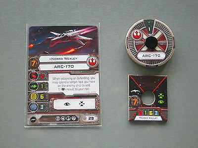 Star Wars FFG X-Wing Miniatures Game - Norra Wexley Token, Dial, Card