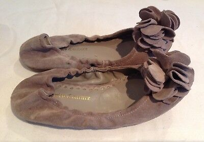 Juicy Couture New Genuine Tan Leather Suede Shoes Pumps Girls Size 12 (EU 31)
