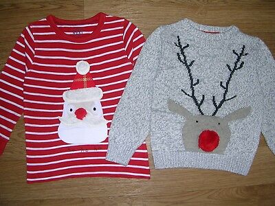 NEXT Two Boys Christmas Jumpers Top Red Santa Reindeer  Age 18-24m