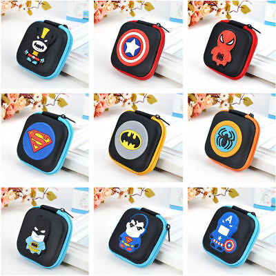 Kids Boys Cartoon Super Hero Mini Rubber Coin Purse Wallet Headset Bag + Charm