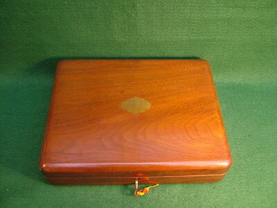 VINTAGE HINGED MAHOGANY BOX 4 JEWELLERY etc BRASS LID CARTOUCHE WORKING LOCK KEY