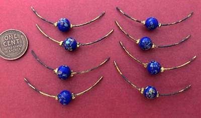 Vintage Blue Mille Fiore Glass Bead and Brass Rod Findings Japan 8