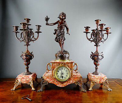 Antique French Figural Mantel Clock Garniture with Candelabra Japy Freres Moreau