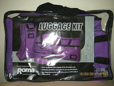 """** HORSE GEAR BAG SET by Roma ** 4pc """"COAT, HAT, BOOT & GEAR BAGS"""" - * PURPLE *"""