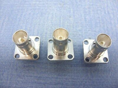 Quantity Of  3  Bnc  Square  Panel Mounting  Chassis  Sockets  75 Ohm