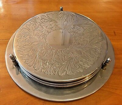 "Beautiful Set of 5 x 8"" (20cm) Circular Plated Mats in Holder. Etched Decoration"