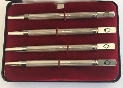 Vintage Sterling Silver Bridge Cards Propelling Pencils Set Original Box 1991