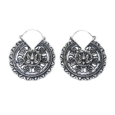 Pair of Silver coloured Lotus Mandala Earrings to be worn with tunnels/ plugs