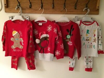 toddler christmas pjs ans jumpers size 18-24 months good condition mothercare +1